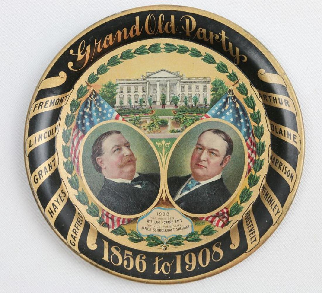 A 1908 GRAND OLD PARTY TIN LITHO POLITICAL TRAY
