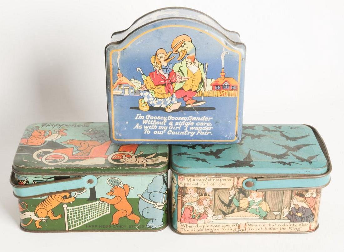 THREE TIN LITHO BISCUIT AND LUNCH PAIL TINS