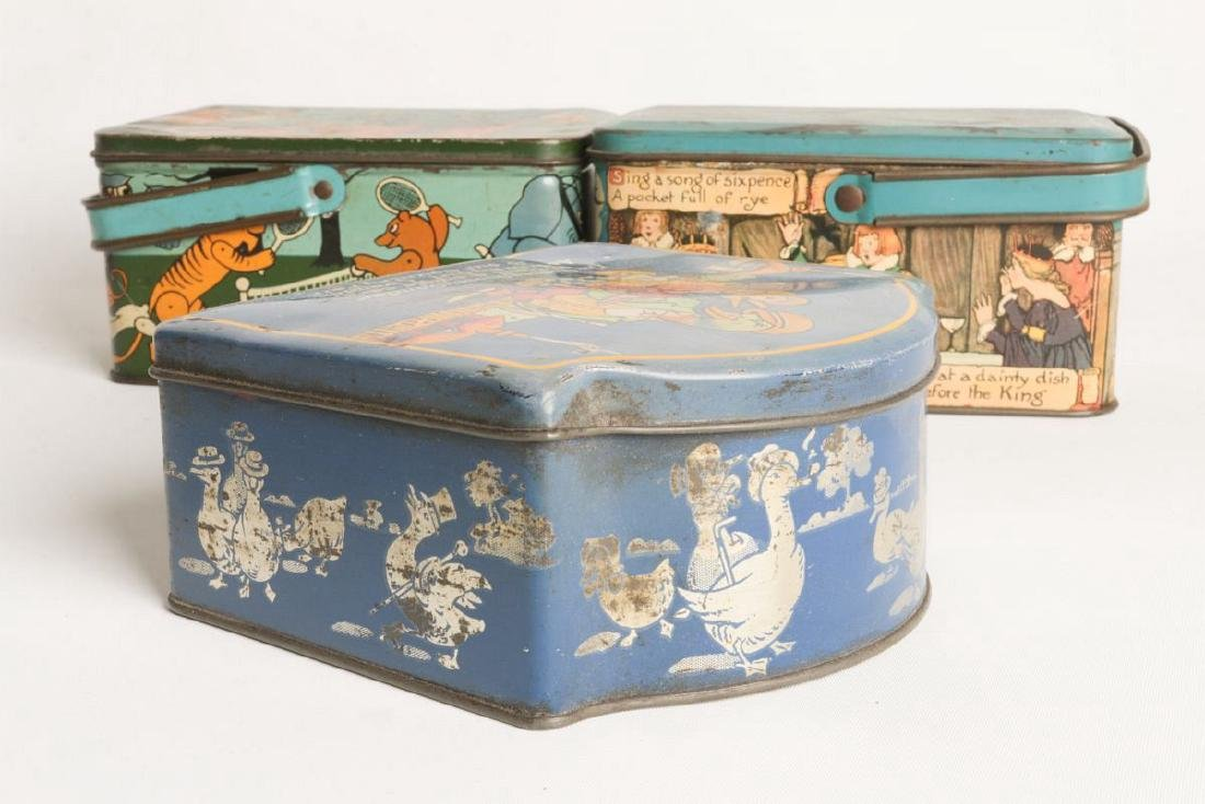 THREE TIN LITHO BISCUIT AND LUNCH PAIL TINS - 2