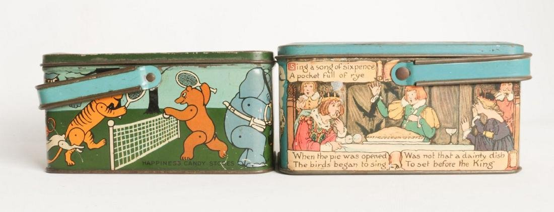 THREE TIN LITHO BISCUIT AND LUNCH PAIL TINS - 3