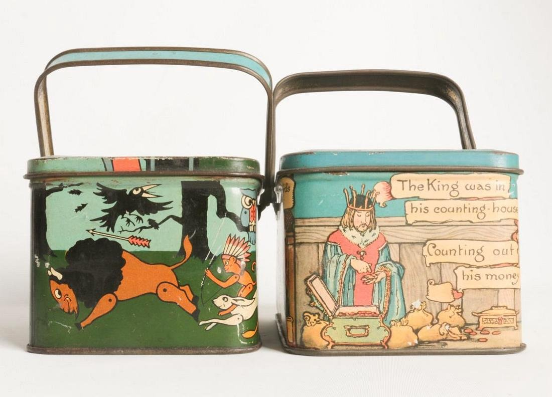 THREE TIN LITHO BISCUIT AND LUNCH PAIL TINS - 4