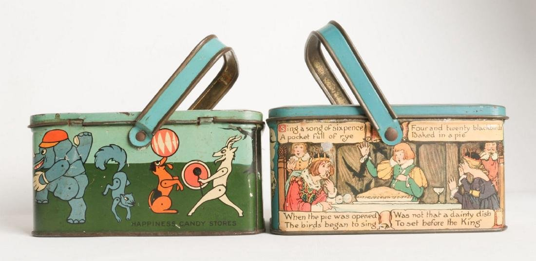 THREE TIN LITHO BISCUIT AND LUNCH PAIL TINS - 5