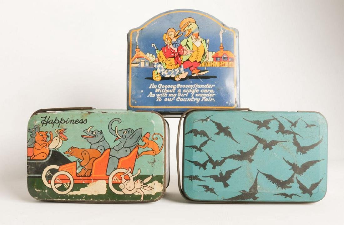 THREE TIN LITHO BISCUIT AND LUNCH PAIL TINS - 6