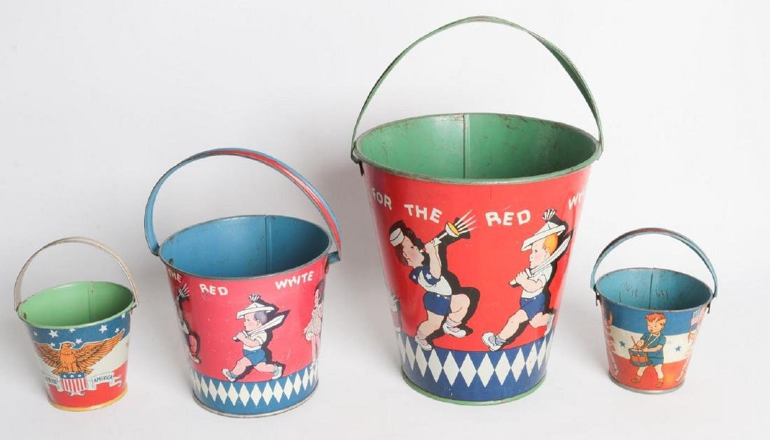 FOUR VARIED SIZE CHILD'S TIN LITHO SAND PAILS