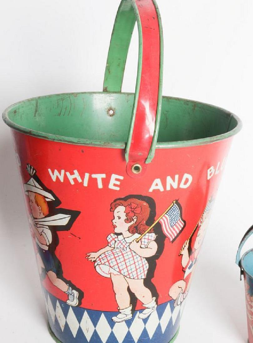 FOUR VARIED SIZE CHILD'S TIN LITHO SAND PAILS - 2