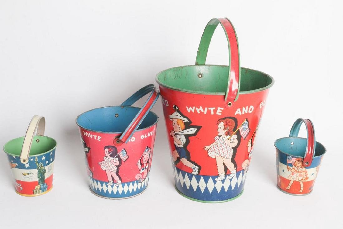 FOUR VARIED SIZE CHILD'S TIN LITHO SAND PAILS - 3