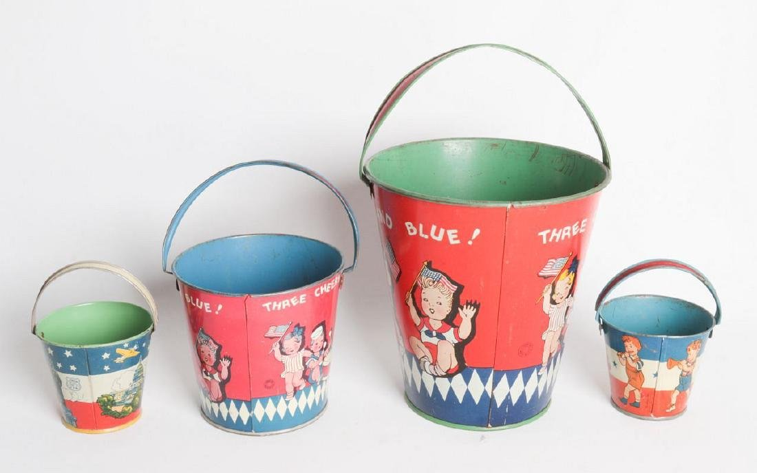 FOUR VARIED SIZE CHILD'S TIN LITHO SAND PAILS - 4