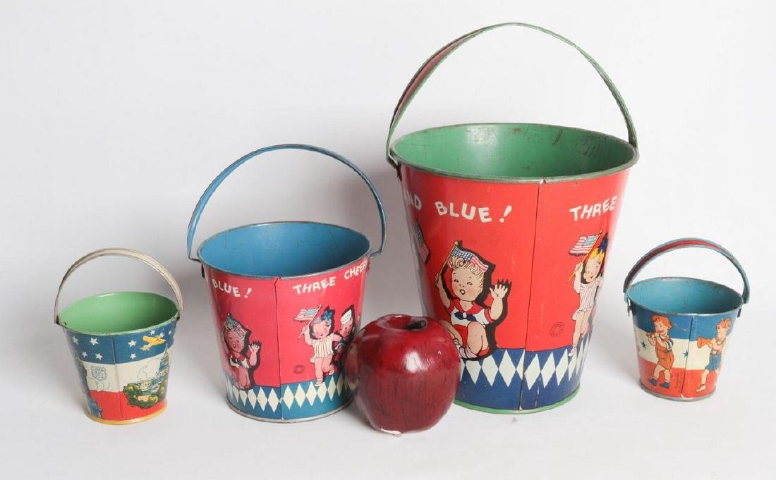 FOUR VARIED SIZE CHILD'S TIN LITHO SAND PAILS - 5