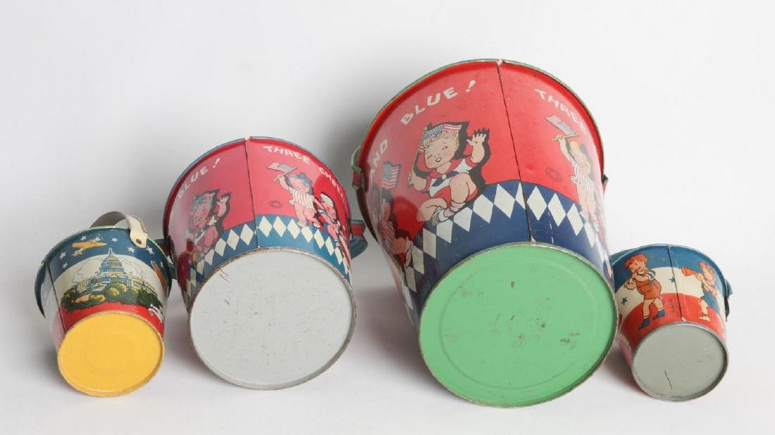 FOUR VARIED SIZE CHILD'S TIN LITHO SAND PAILS - 6