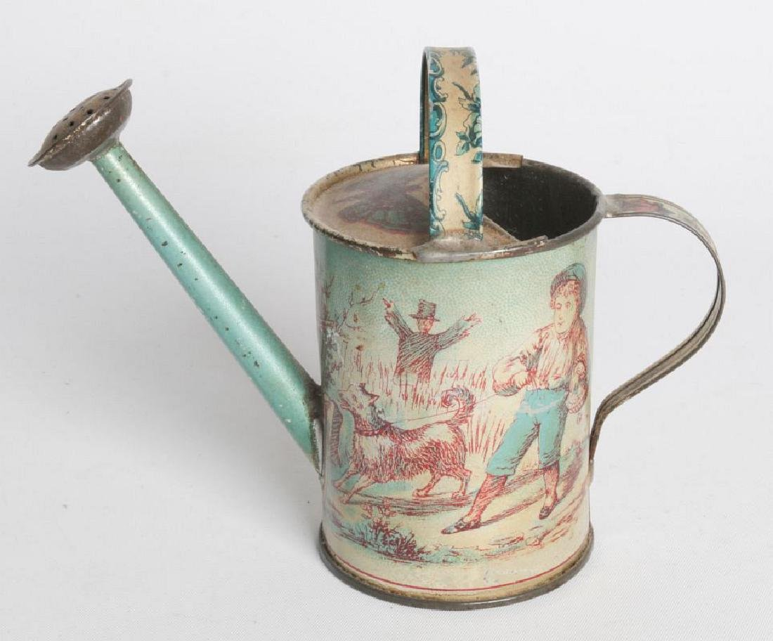 A VICTORIAN CHILD'S TIN LITHO WATERING CAN