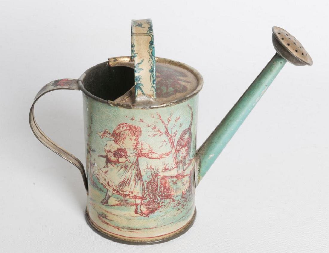 A VICTORIAN CHILD'S TIN LITHO WATERING CAN - 2