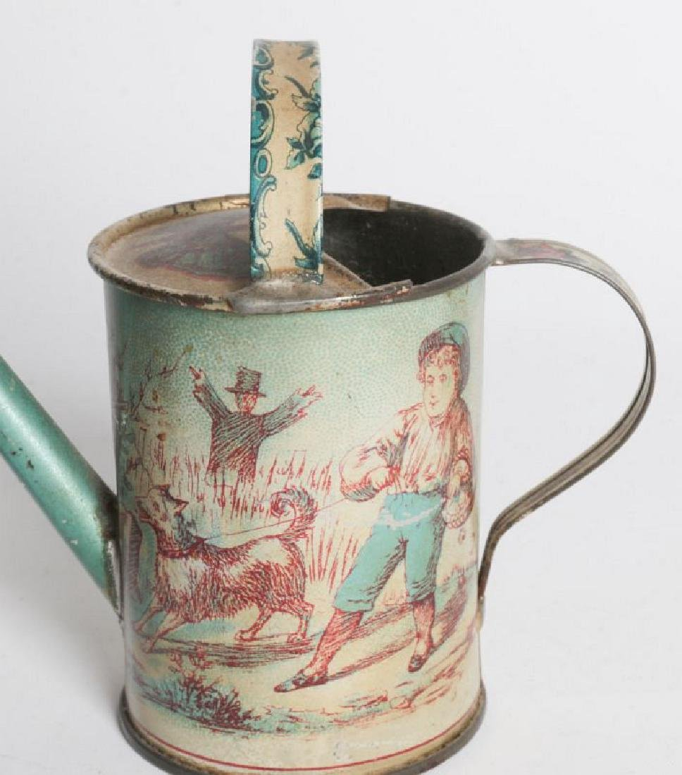 A VICTORIAN CHILD'S TIN LITHO WATERING CAN - 8