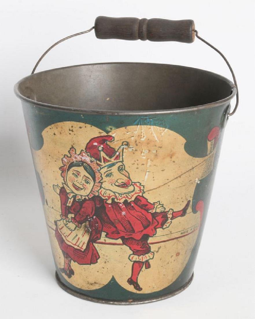 A CIRCA 1905 TIN LITHO CHILD'S SAND PAIL W/ PUNCH