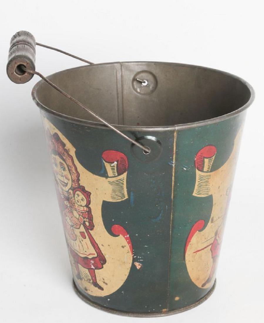A CIRCA 1905 TIN LITHO CHILD'S SAND PAIL W/ PUNCH - 3