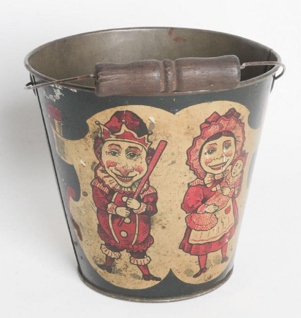 A CIRCA 1905 TIN LITHO CHILD'S SAND PAIL W/ PUNCH - 4