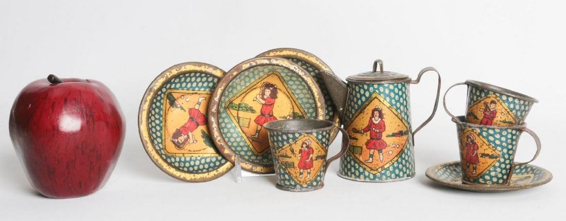 A SCARCE TENNIS PLAYING THEME TIN LITHO TEA SET - 2