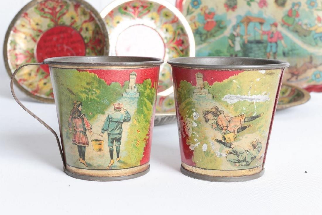 A JACK AND JILL VERSE CHILD'S TIN LITHO TEA SET - 4