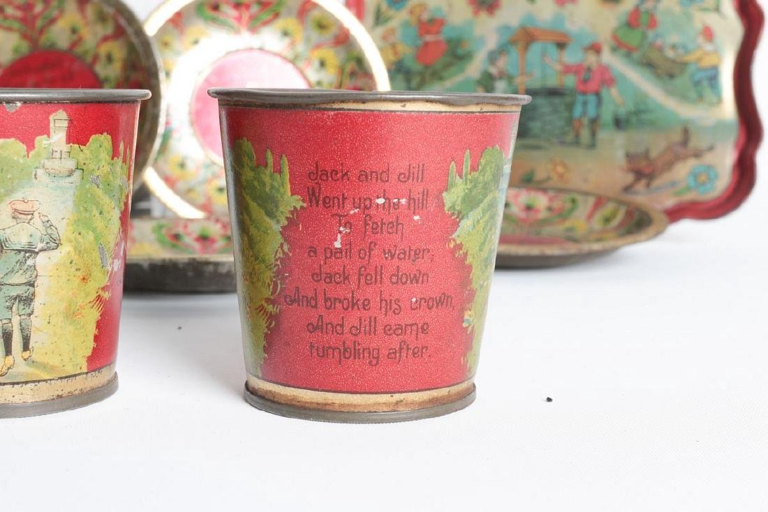 A JACK AND JILL VERSE CHILD'S TIN LITHO TEA SET - 5