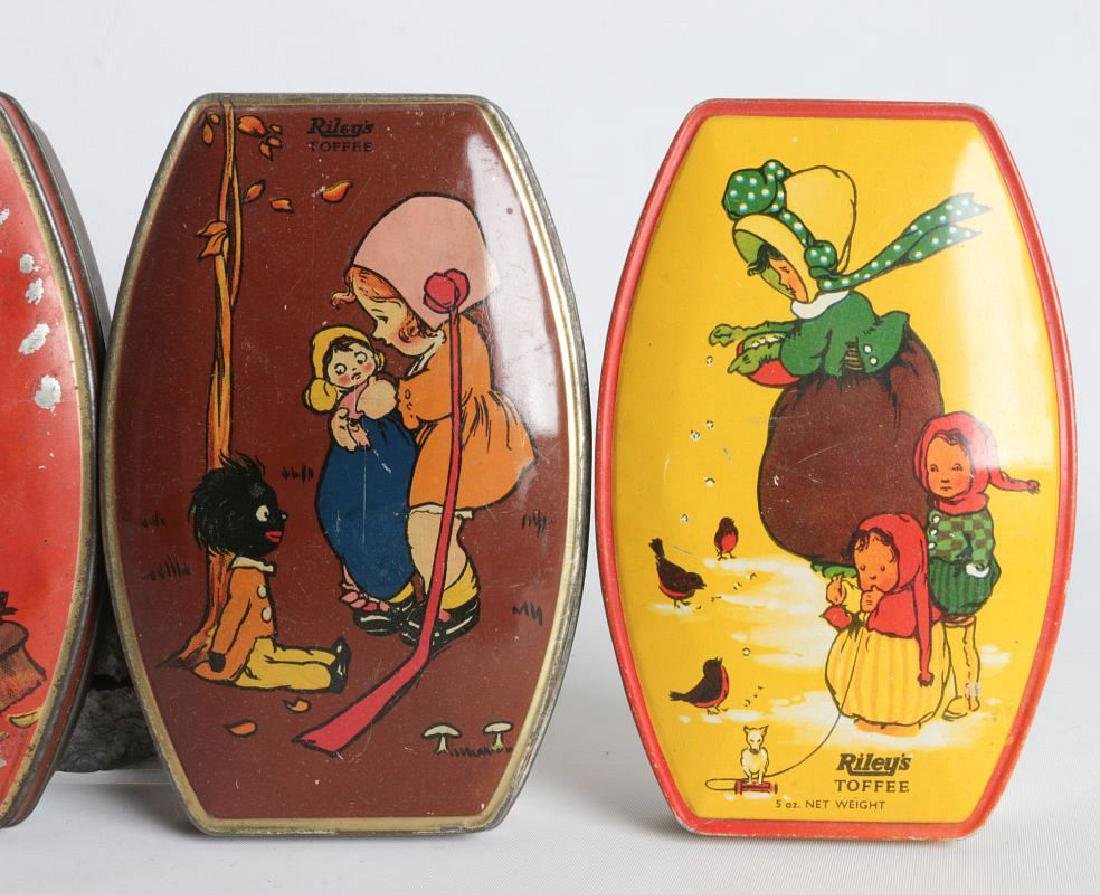 FOUR RILEY'S TOFFEE TIN LITHO TOFFEE TINS - 4