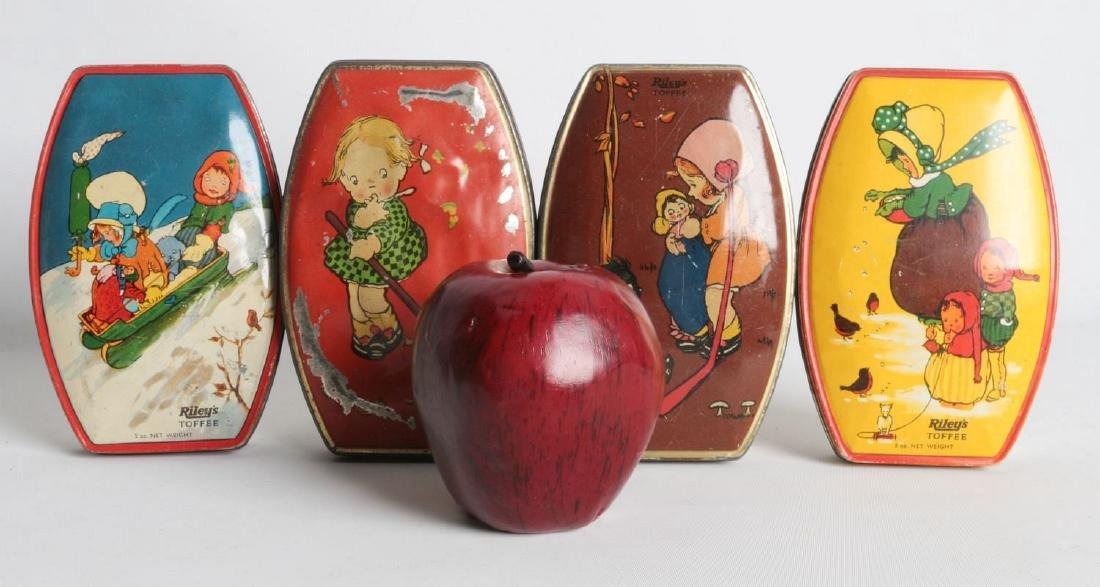 FOUR RILEY'S TOFFEE TIN LITHO TOFFEE TINS - 5