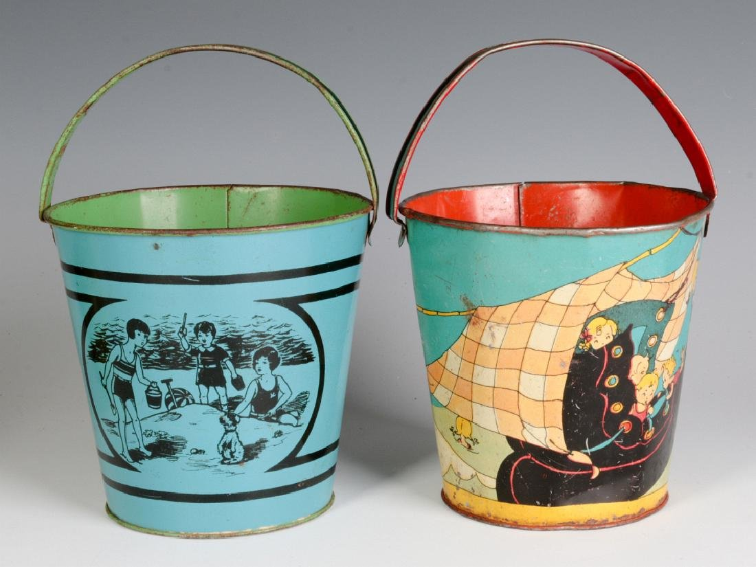 A FERN BISEL PEAT SAND PAIL, PLUS ANOTHER