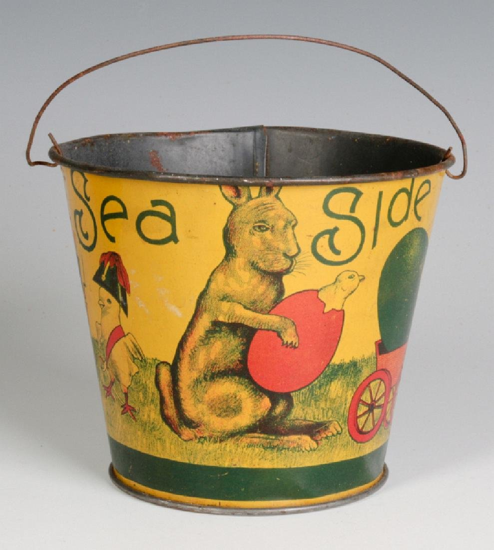 A VICTORIAN CHILD'S TIN LITHO EASTER SAND PAIL