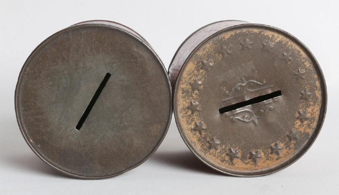 TWO PATRIOTIC THEME TIN LITHO DRUM BANKS - 6