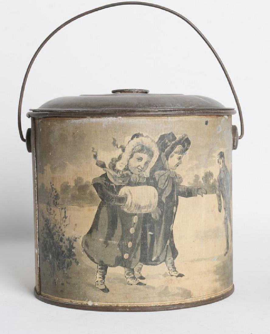 A TIN LITHO CHRISTMAS AND ADVERTISING LIDDED PAIL