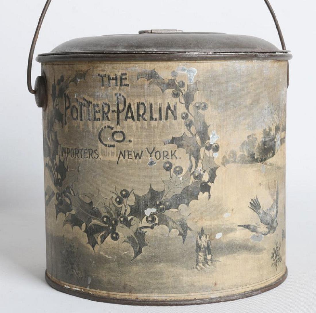 A TIN LITHO CHRISTMAS AND ADVERTISING LIDDED PAIL - 2