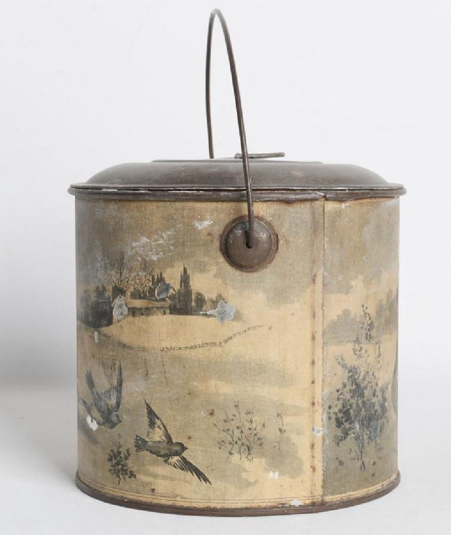 A TIN LITHO CHRISTMAS AND ADVERTISING LIDDED PAIL - 3