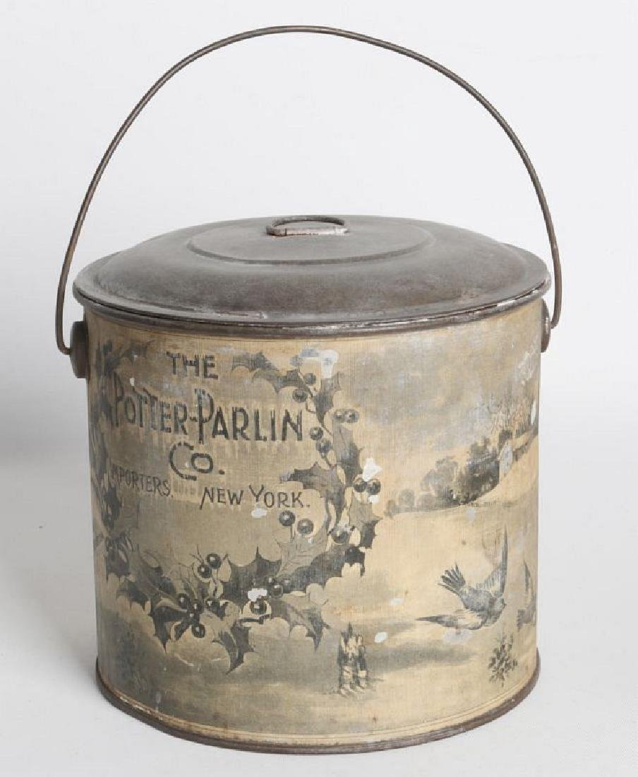 A TIN LITHO CHRISTMAS AND ADVERTISING LIDDED PAIL - 4