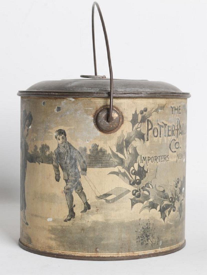 A TIN LITHO CHRISTMAS AND ADVERTISING LIDDED PAIL - 5