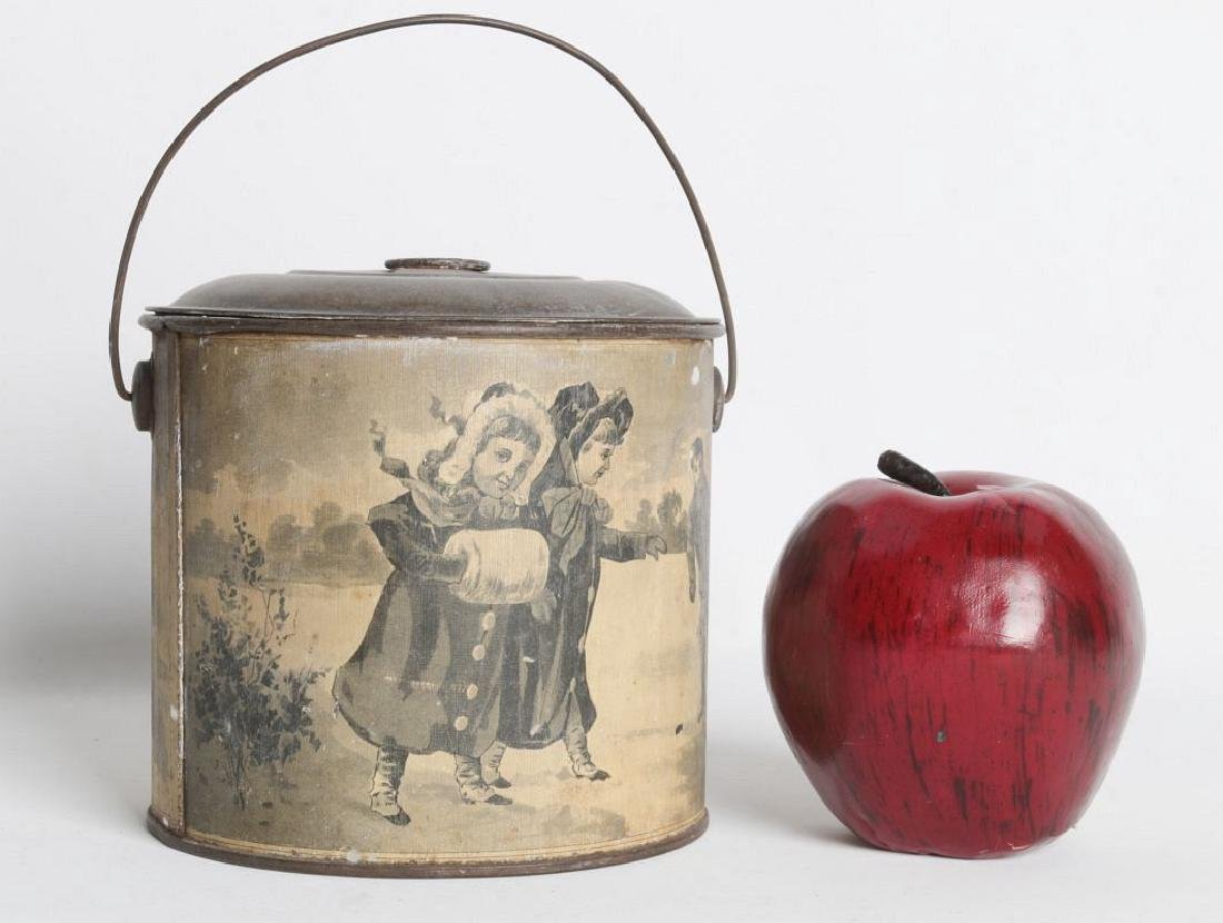 A TIN LITHO CHRISTMAS AND ADVERTISING LIDDED PAIL - 6