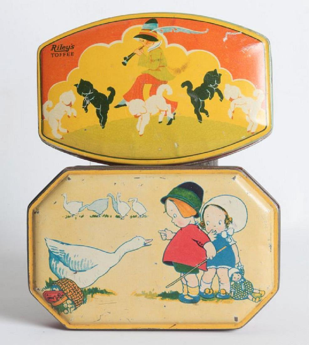 A PAIR OF TIN LITHO TOFFEE TINS