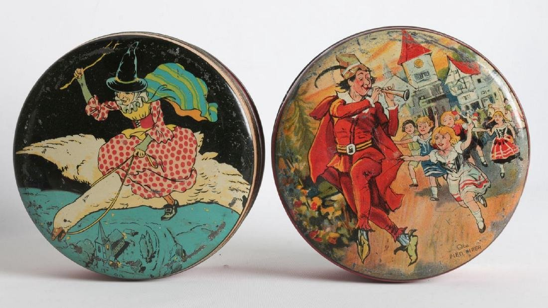 PIED PIPER AND MOTHER GOOSE LITHOGRAPHED TINS