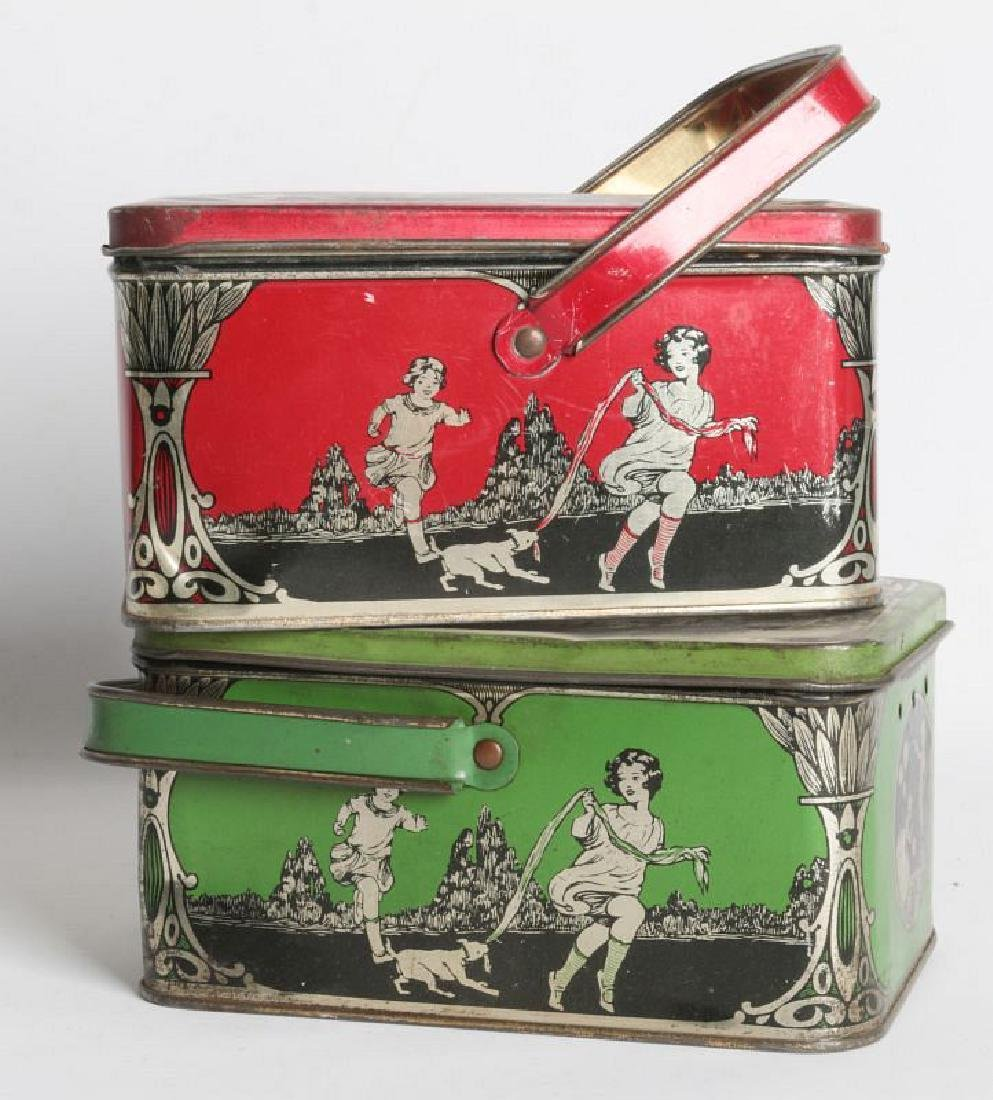 A PAIR OF TIN LITHO CHILD'S LUNCH TINS