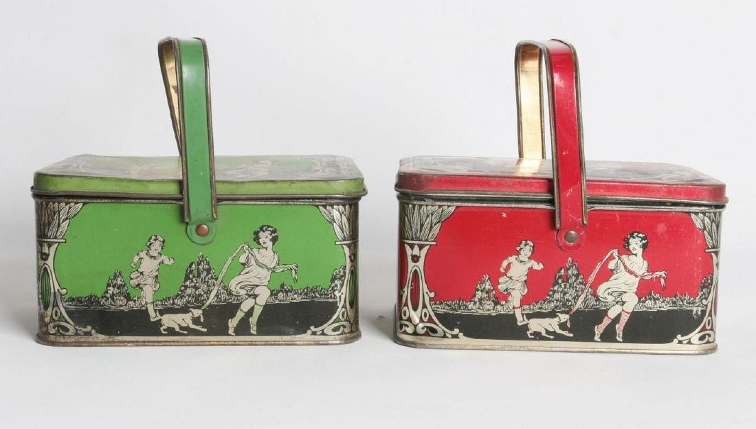 A PAIR OF TIN LITHO CHILD'S LUNCH TINS - 2