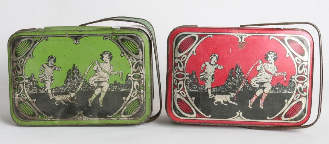 A PAIR OF TIN LITHO CHILD'S LUNCH TINS - 6