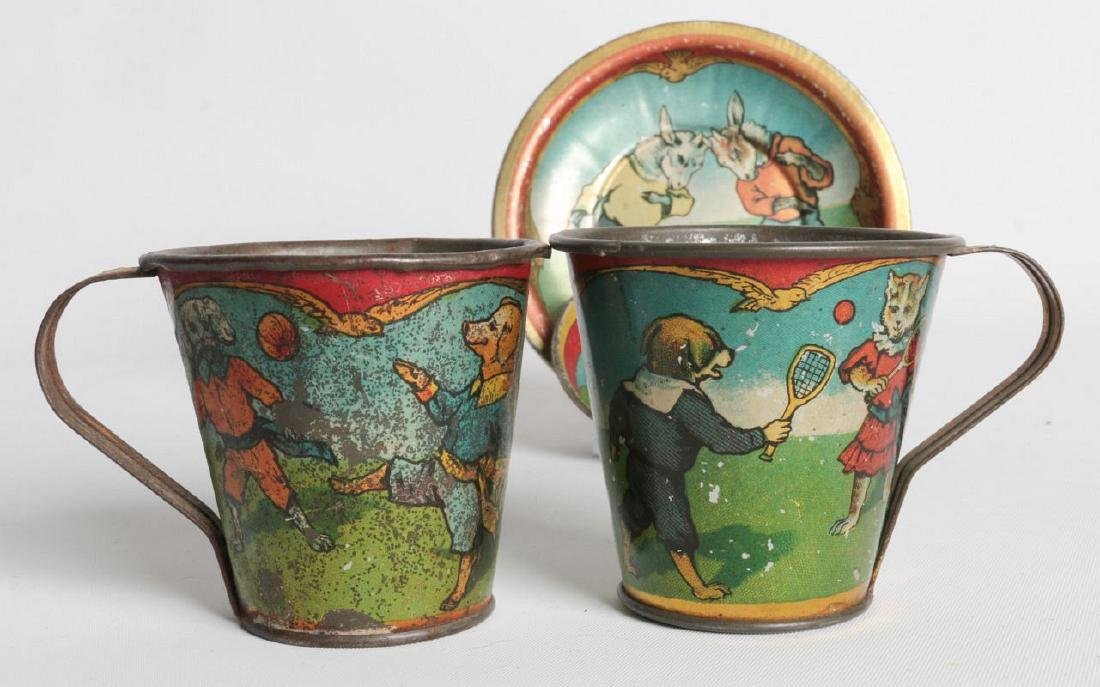 CHILDREN'S TIN LITHO TEA CUPS AND SAUCERS - 2