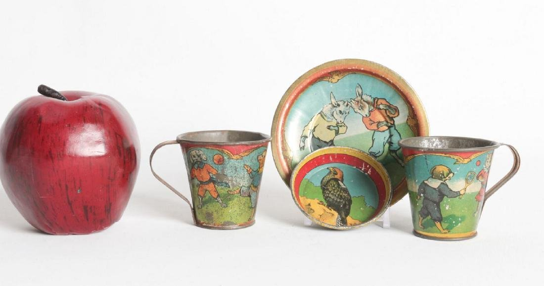 CHILDREN'S TIN LITHO TEA CUPS AND SAUCERS - 6