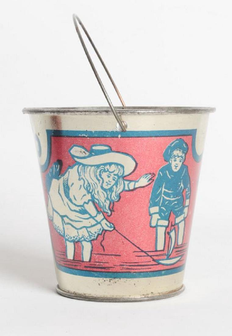 A GOOD VICTORIAN MINIATURE TIN LITHO CHILD'S PAIL