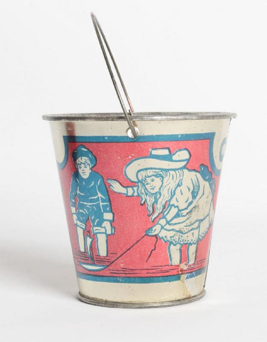 A GOOD VICTORIAN MINIATURE TIN LITHO CHILD'S PAIL - 3