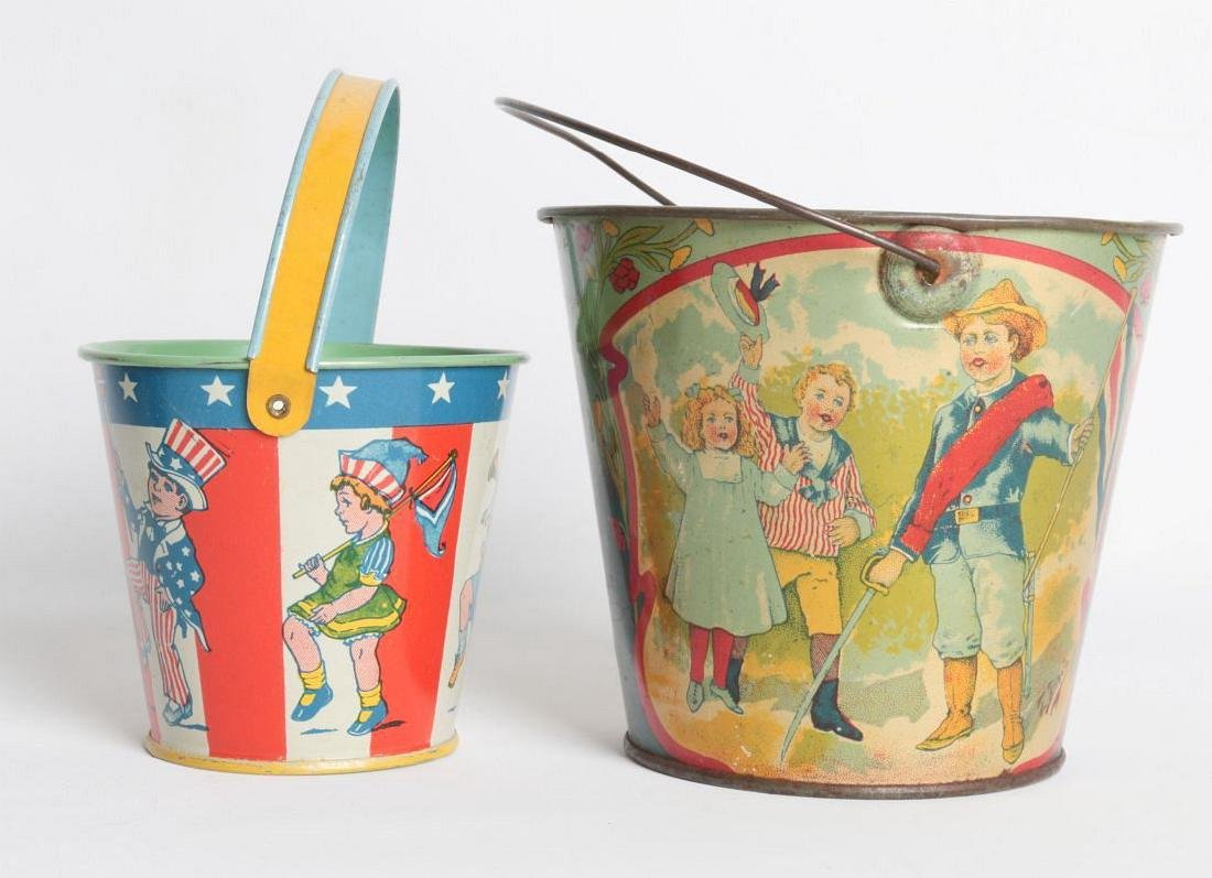 PATRIOTIC THEME TIN LITHO SAND PAILS, INCL CHEIN