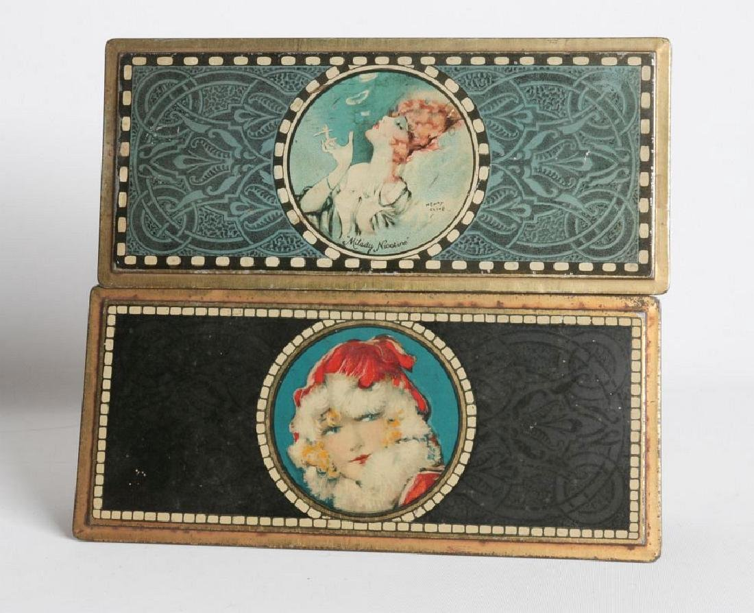 A PAIR OF HENRY CLIVE TIN LITHO HINGED TINS