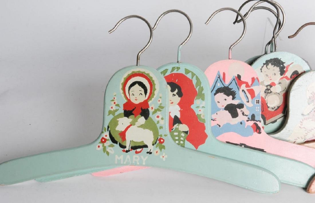 PAINTED 1920s CHILD'S CLOTHES HANGERS WITH FIGURES - 2