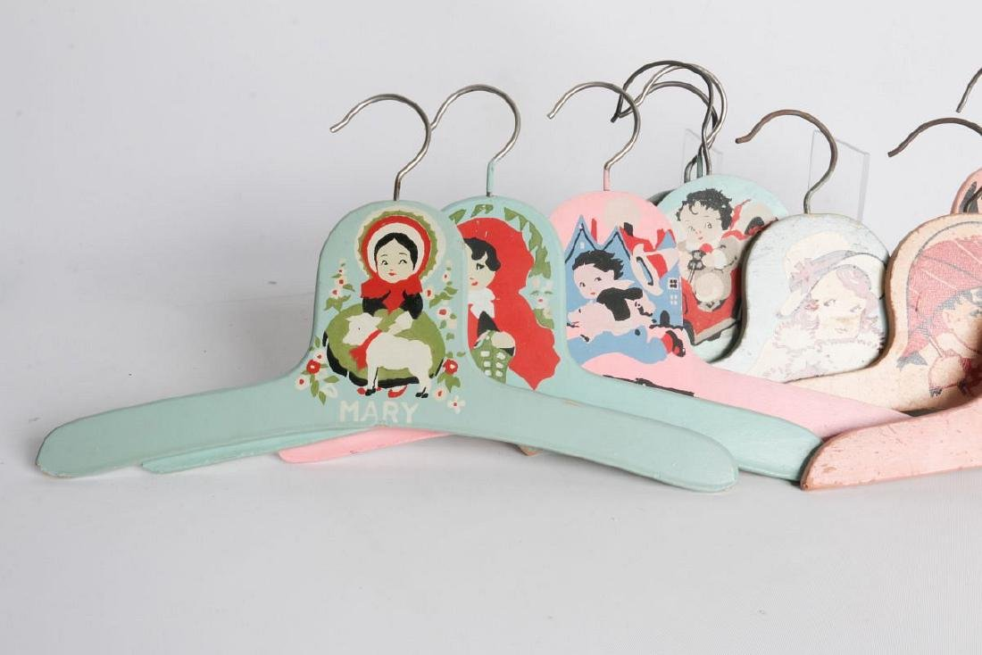 PAINTED 1920s CHILD'S CLOTHES HANGERS WITH FIGURES - 3