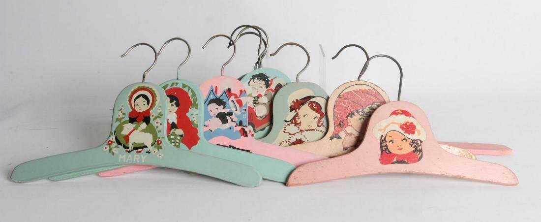 PAINTED 1920s CHILD'S CLOTHES HANGERS WITH FIGURES - 6