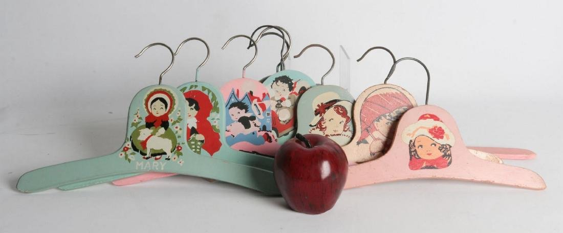 PAINTED 1920s CHILD'S CLOTHES HANGERS WITH FIGURES - 7