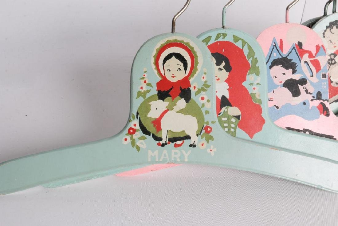 PAINTED 1920s CHILD'S CLOTHES HANGERS WITH FIGURES - 9