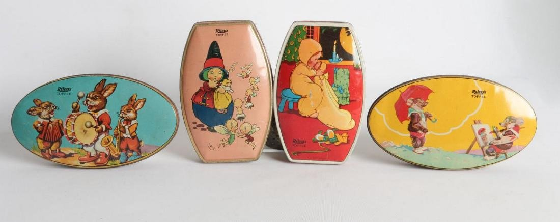 FOUR VINTAGE 'RILEY'S TOFFEE TIN LITHO TOFFEE TINS